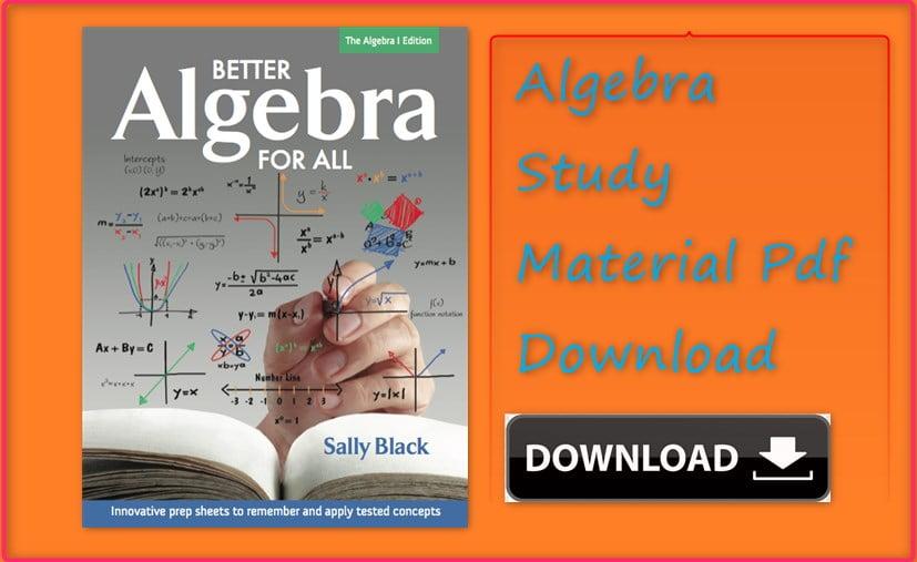Algebra Pdf Material Download
